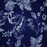 Viskose - Blumen auf Blau