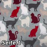 """Fleece """"Katzen und Wolken"""" Doppelseitig"""