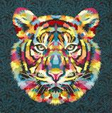 Kissenplatte - Tiger - blau