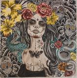Kissenplatte - senorita calavera -  Gelb