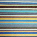 Markise Bunt gestreift gelb, blau, braun