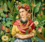 Kissenplatte - Frida und Äffchen - Grün