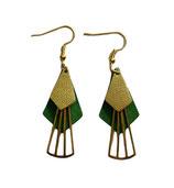 Boucles d'oreilles en cuir vert