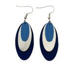 Boucles d'oreilles en cuir bleu