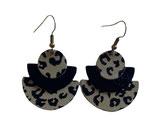 Boucles d'oreilles cuir demi-lune noir / gris