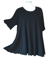 SunShine T-Shirt in A-Linie Viskose Uni Schwarz (UC-150)