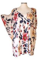 Summerfeeling Shirt New Designs Grauweiß mit großem Blumenmuster (SFS-693)