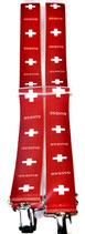 Hosenträger 4 Klips X-Form rot weiß Schweiz