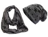 Shenky Schal und Mützen Set Grau mit schwarzen Sternen