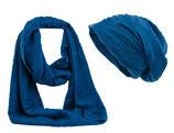 Shenky Schal und Mützen Set Kringel Blau