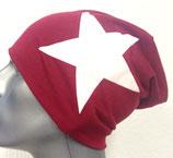 Jersey Beanie dunkelrot mit weißem Stern