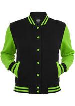 Urban Classics Collegejacke 2-tone schwarz limegreen neongrün