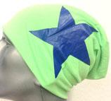 Jersey Beanie neon-grün mit blauem Stern