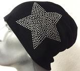 Jersey Beanie schwarz mit Stern