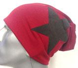 Jersey Beanie dunkelrot mit schwarzem Stern