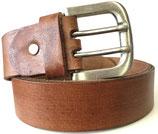 Büffelleder Gürtel mit starker Schnalle 4cm breit cognac-braun