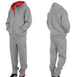 Hoodboyz Contrast Jogginganzug Suit Sportanzug Herren grau rot