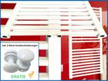 Badheizkörper SMYRNA Weiß Gerade mit Mittelanschluss inkl. 2 Stück Handtuchhalterungen