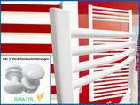 Badheizkörper Smyrna Weiß Gebogen Standardanschluss inkl. 2 Stück Handtuchhalterungen