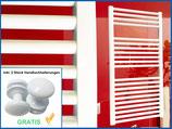 Badheizkörper Smyrna Weiß Gerade Standardanschluss inkl. 2 Stück Handtuchhalterungen