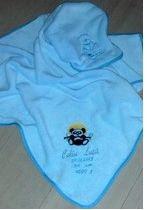 """Art:Nr:12-457 Babydecke mit Namen bestickt, Motiv """"Panda"""""""