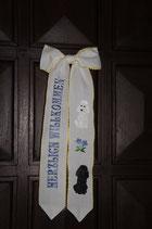 """Art:Nr:129 Willkommensschleife, bestickt, Motiv """"Pudel"""" weiß und schwarz"""