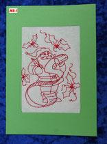 """Art:Nr:001 Weihnachtsklappkarte, bestickt , Motiv """" Weihnachtsmann """""""
