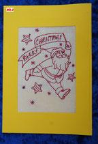 """Art:Nr:003 Weihnachtsklappkarte, bestickt , Motiv """" Weihnachtsmann """""""