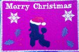 """Art:Nr:122bestickte Weihnachtskarte mit Kuvert, Motiv """" Pudel"""""""