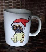"""Becher """" Weihnachtsmops"""""""
