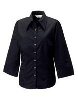 Körperbetonte Bluse mit 3/4-Ärmeln Black