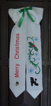 """Art:Nr:124 Weihnachtliche Türschleife,bestickt, Motiv """" Merry Christmas mit Pudel"""""""