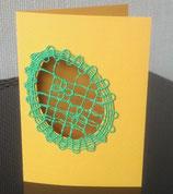 Art:Nr:002Osterkarte mit filigraner Stickarbeit, Klappkarte mit Umschlag