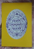Art:Nr:001Osterkarte mit Stickmotiv Klappkarte mit Umschlag