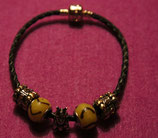 "Art:Nr:006 Bead Armband Leder,schwarz, "" Kängeruh mit Kind"""