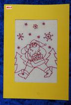 """Art:Nr:005  Weihnachtsklappkarte, bestickt , Motiv """" Knecht Ruprecht """""""