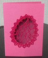Art:Nr:004 Osterkarte mit filigraner Stickarbeit, Klappkarte mit Umschlag
