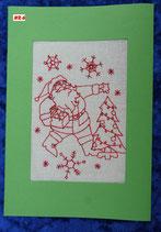 """Art:Nr:006  Weihnachtsklappkarte, bestickt , Motiv """" Knecht Ruprecht """""""