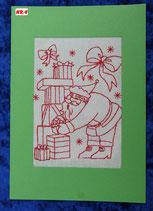 """Art:Nr:004  Weihnachtsklappkarte, bestickt , Motiv """" Knecht Ruprecht """""""