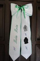 Art:Nr:126 bestickte Türschleife, Motiv Pudelkopf silber und schwarz