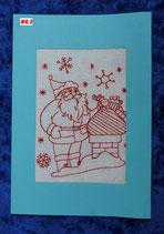 """Art:Nr:002 Weihnachtsklappkarte, bestickt , Motiv """" Weihnachtsmann """""""