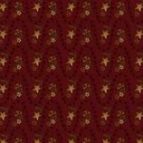 2146-88 Itty Bitty Ondulaciones de estrellas con flores amarillas fondo rojo