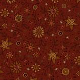 2145-88 Itty Bitty Flores estrelladas amarillo fondo rojo