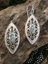 Ohrhänger  925 Silber mit  Mondstein 3,4x1,5cm lang