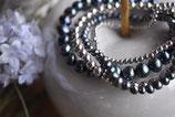 Armband Süsswasserperlen Obergine 1x5mm und 1x3mm und 925 Silberkugel-Armband 1x5mm und 1x2mm