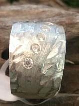 Ring HANDGEFERTIGT 999 Reinsilber mit Zirkonia ,sehr aufwendige Technik  Nr. 4
