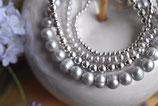 Armband Süsswasserperlen zart Grau 1x 5mm und 1x 3mm mit 925 Silberkugel-Armband 1x 5mm und 1x2mm