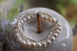 Armbandänder Süsswasserperlen weiss 1x5mm und 1x3mm und 925 Silberkugel-Armband 1x3mm