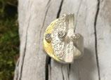 Ring HANDGEFERTIGT 999 Reinsilber mit vergoldetem Element mit  Zirkonias  Nr.18