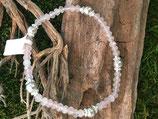 Edelstein Armband mit 925 Silber und Rosenquarz